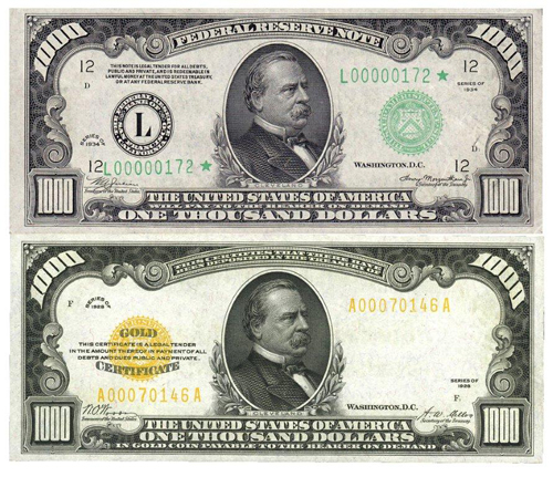 grover cleveland 1000 bill gold certificate federal reserve note